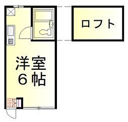 長瀬アイランドアパート 2階ワンルームの間取り