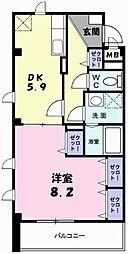 南海線 泉大津駅 徒歩4分の賃貸マンション 3階1DKの間取り