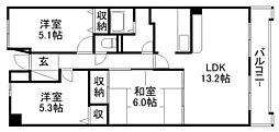 ツインオークス[6階]の間取り