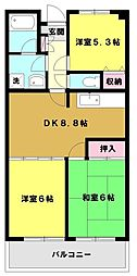 ロイヤルシティ四番館[4階]の間取り