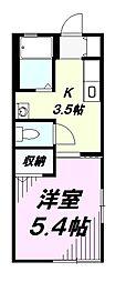 東京都八王子市打越町の賃貸アパートの間取り