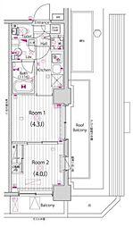 JR南武線 武蔵小杉駅 徒歩13分の賃貸マンション 4階2Kの間取り