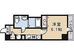 JR大阪環状線 寺田町駅 徒歩7分の賃貸マンション 9階1Kの間取り
