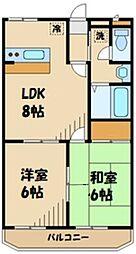 JR横浜線 町田駅 バス18分 菅原神社前下車 徒歩2分の賃貸マンション 4階2LDKの間取り