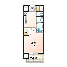 アドバンス大阪城シュアーヴ 3階1Kの間取り