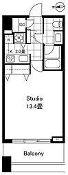 コンシェリア西新宿タワーズウエスト 17階1Kの間取り