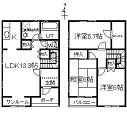 [テラスハウス] 富山県富山市西長江2丁目 の賃貸【/】の間取り