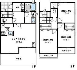 [テラスハウス] 神奈川県川崎市宮前区馬絹1丁目 の賃貸【/】の間取り
