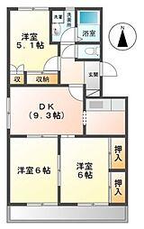 愛知県岡崎市真伝2丁目の賃貸アパートの間取り