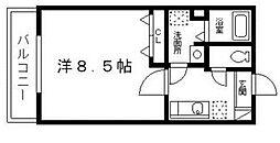 サンヴァイオレットIII番館 2階1Kの間取り