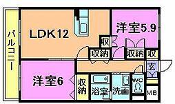 新潟県新発田市住吉町3丁目の賃貸マンションの間取り