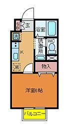 千葉県柏市千代田3の賃貸アパートの間取り