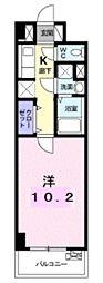 西武国分寺線 恋ヶ窪駅 徒歩15分の賃貸マンション 4階1Kの間取り