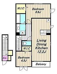 (仮)D-room相原 B棟[2階]の間取り