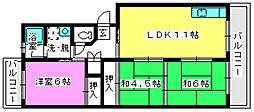 ビュ−ラ−88[4階]の間取り