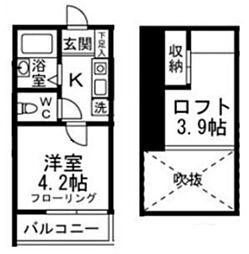 東京メトロ丸ノ内線 東高円寺駅 徒歩5分の賃貸アパート 2階1Kの間取り