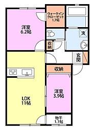 Luce(ルーチェ)I 2階2LDKの間取り