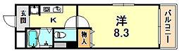 アビターレ六甲 2階1Kの間取り