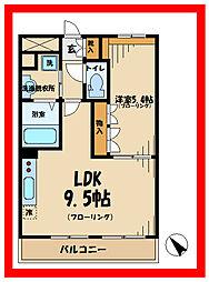 京王相模原線 稲城駅 徒歩10分の賃貸マンション 2階1LDKの間取り