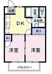神奈川県横浜市旭区南希望が丘の賃貸アパートの間取り