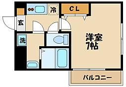 JR南武線 武蔵中原駅 徒歩1分の賃貸マンション 1階1Kの間取り