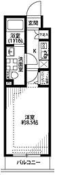 プレール・ドゥーク東雲II 4階1Kの間取り