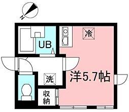 京王井の頭線 三鷹台駅 徒歩12分の賃貸アパート 3階ワンルームの間取り
