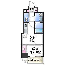 JR大阪環状線 天王寺駅 徒歩5分の賃貸マンション 6階1DKの間取り