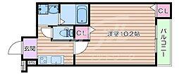 阪急千里線 豊津駅 徒歩9分の賃貸アパート 2階1Kの間取り