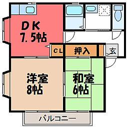 栃木県宇都宮市下栗1丁目の賃貸アパートの間取り