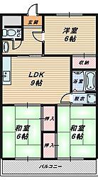 マンションヤマニシ[3階]の間取り