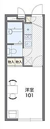 小田急多摩線 栗平駅 徒歩30分の賃貸マンション 2階1Kの間取り