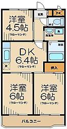 京王線 武蔵野台駅 徒歩13分の賃貸マンション 4階3DKの間取り