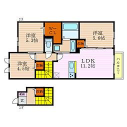 滋賀県彦根市鳥居本町の賃貸アパートの間取り