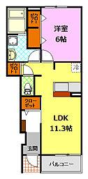 茨城県下妻市坂本新田の賃貸アパートの間取り