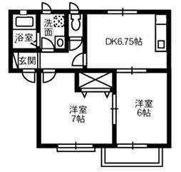 アエル乙島 D[202号室]の間取り