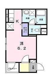 東急目黒線 不動前駅 徒歩10分の賃貸マンション 3階1Kの間取り
