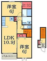 千葉県市原市西広の賃貸アパートの間取り