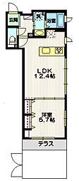 東急大井町線 戸越公園駅 徒歩8分の賃貸マンション 1階1LDKの間取り