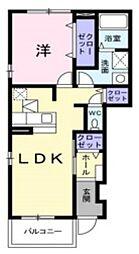 埼玉県さいたま市見沼区春岡1丁目の賃貸アパートの間取り