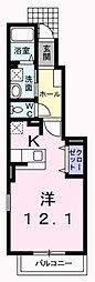 JR八高線 箱根ヶ崎駅 徒歩18分の賃貸アパート 1階1Kの間取り