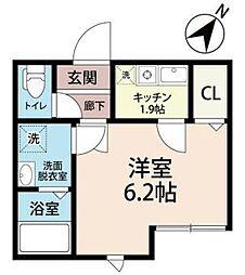 JR武蔵野線 三郷駅 徒歩7分の賃貸アパート 3階1Kの間取り