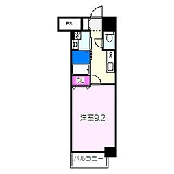 JR阪和線 津久野駅 徒歩6分の賃貸マンション 9階1Kの間取り