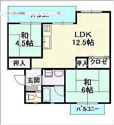 平川住宅 14[401号室]の間取り