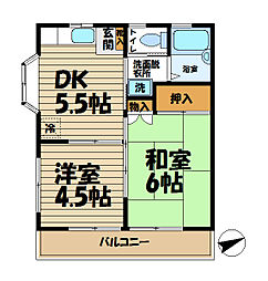 サンハイツ2(田谷)[203号室]の間取り