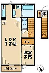 京王相模原線 京王永山駅 徒歩11分の賃貸アパート 2階1LDKの間取り