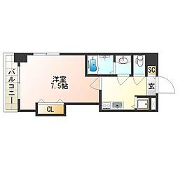 Osaka Metro四つ橋線 花園町駅 徒歩2分の賃貸マンション 13階1Kの間取り