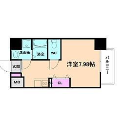 新梅田セントラルヒルズ 9階ワンルームの間取り