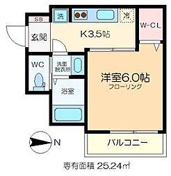ijマンション 4階1Kの間取り