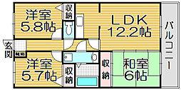千鳥エクセルシオ 4階3LDKの間取り